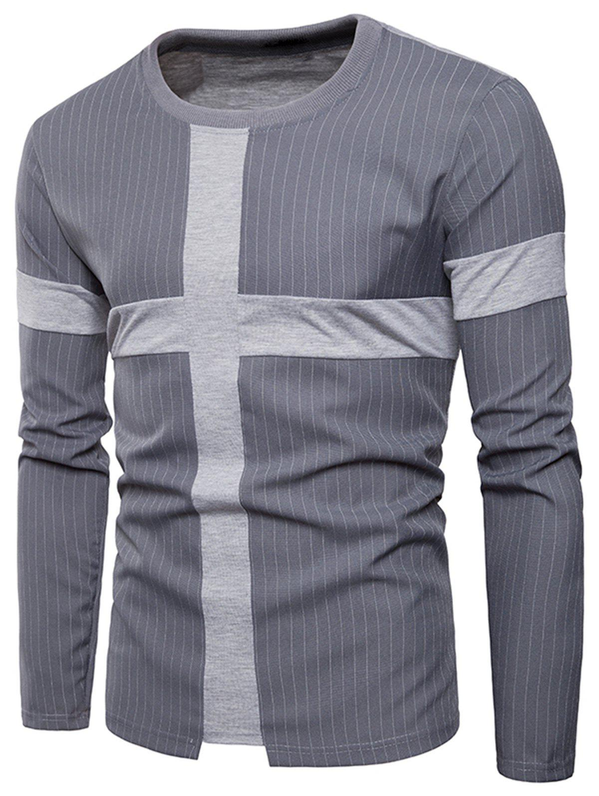 Latest Cross Panel Vertical Stripe Long Sleeve T-shirt