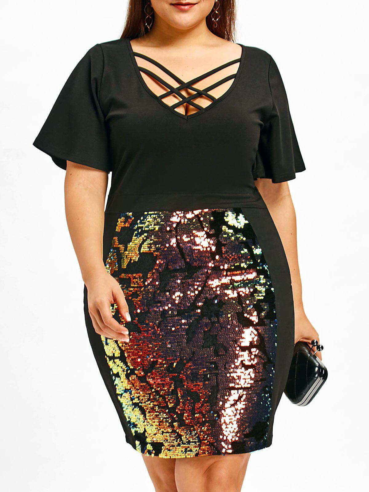 Trendy Sequins Lattice Cut Plus Size Bodycon Dress