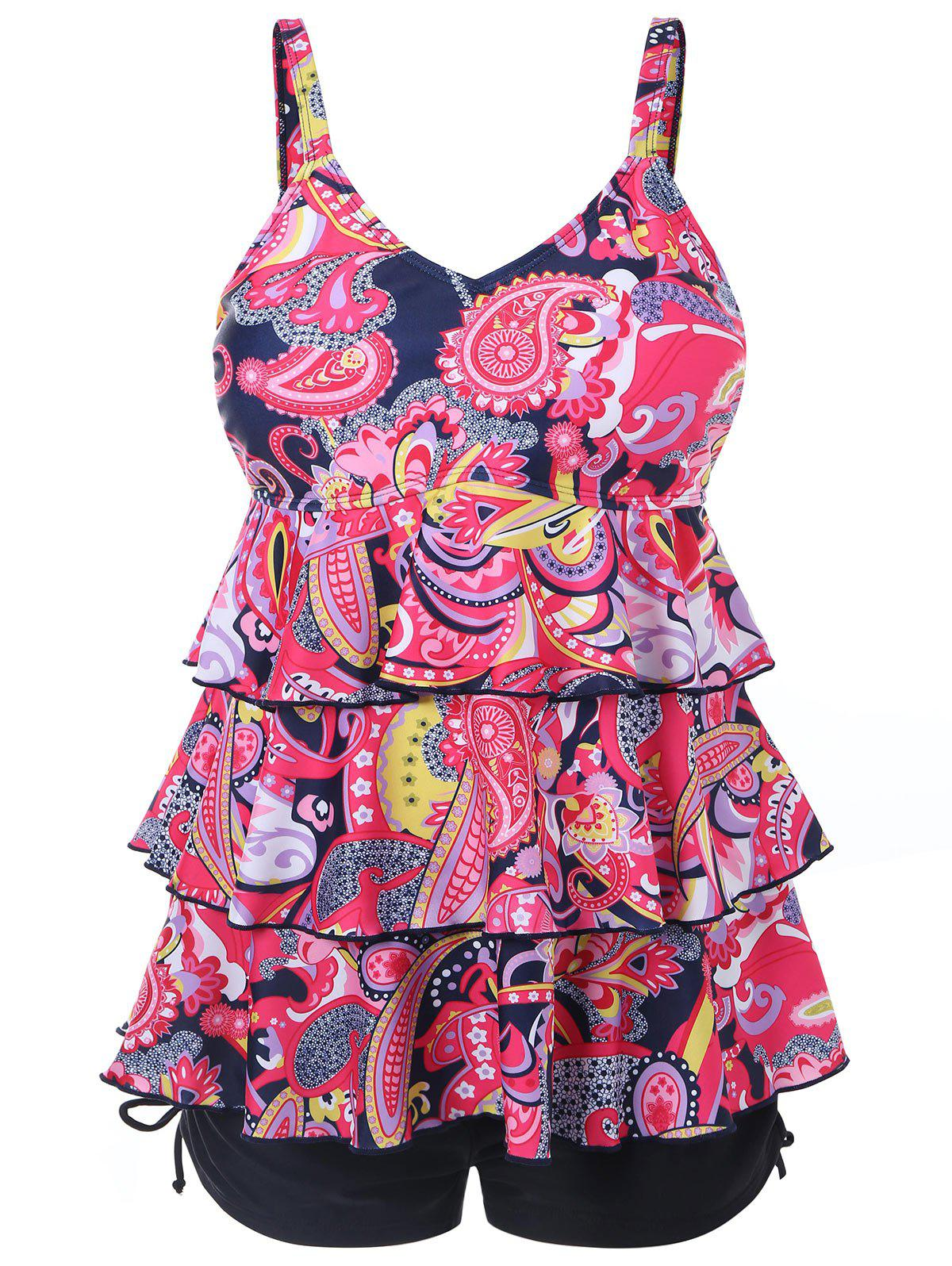 Fancy Printed Plus Size Tier Flounce Tankini Set