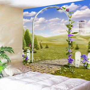 Arch Garden Meadow View Printed Tapestry Wall Art -