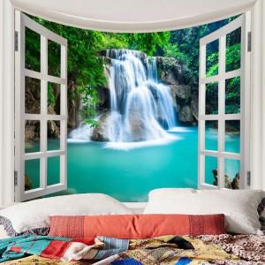 Window Outside Forest Waterfall Printed Wall Art Tapestry -