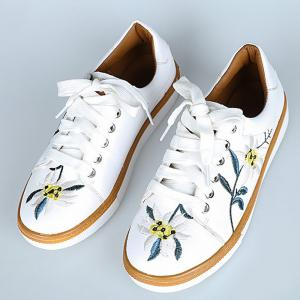 Faux Leather Floral Embroidered Sneakers -