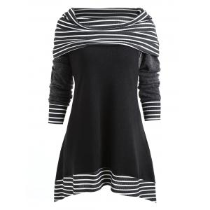 Stripe Trim Plus Size Skew Neck T-shirt -