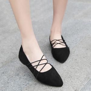 Pointed Toe Faux Suede Flats -