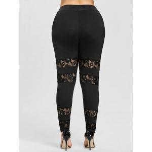 See Through Lace Insert Plus Size Leggings -