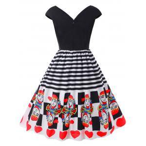 Plus Size Striped Hearts Playing Card Dress -