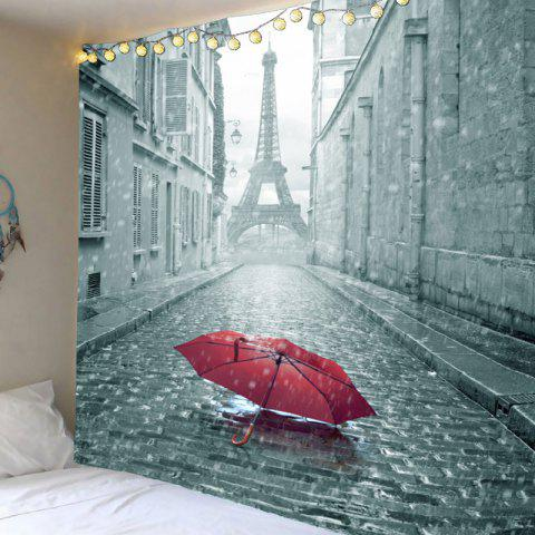 Latest Wall Art Literary Paris Tower and Umbrella Printed Hanging Tapestry
