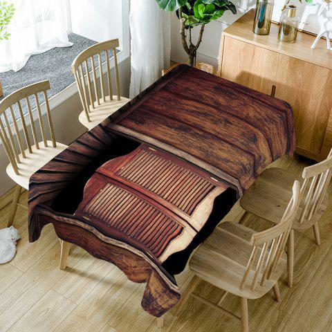 Trendy Wood Grain Board Printed Table Cloth