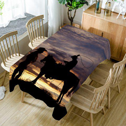 Hot Sunset Scenery and West Cowboys Printed Table Cloth