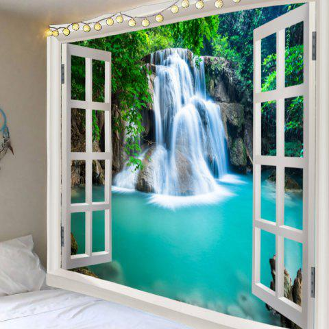 Cheap Window Outside Forest Waterfall Printed Wall Art Tapestry