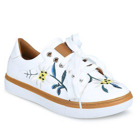 Buy Faux Leather Floral Embroidered Sneakers