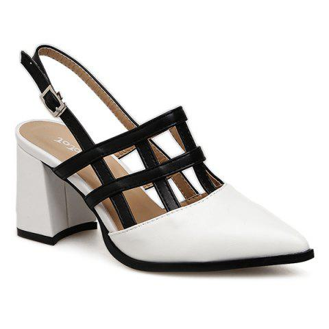 Color Block Pointed Toe Pumps - White - 35