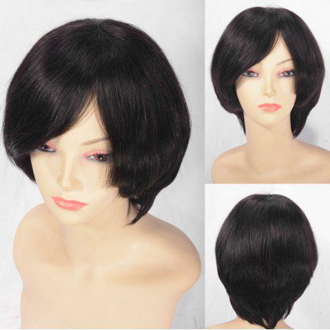 Sale Short Oblique Bang Straight Indian Remy Human Hair Lace Front Wig