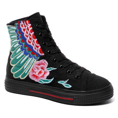 Flower Embroidery Ankle Boots