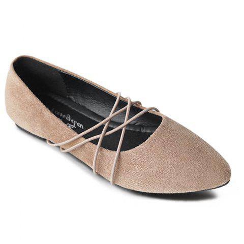 Pointed Toe Faux Suede Flats - Khaki - 40