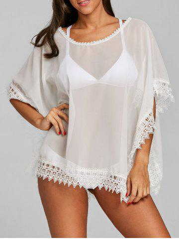 См. Thru Batwing Lace Trim Cover Up