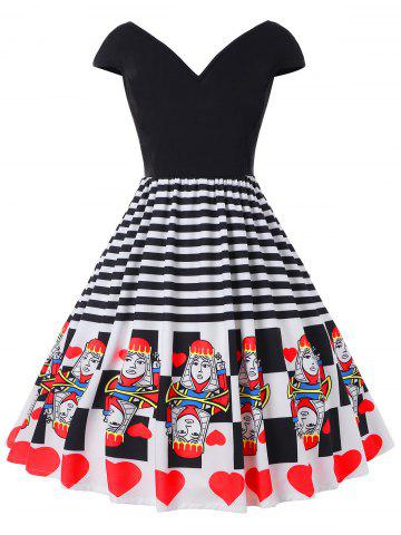 Trendy Plus Size Striped Hearts Playing Card Dress