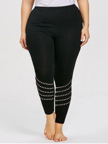 New Plus Size Rivet Embellished Leggings