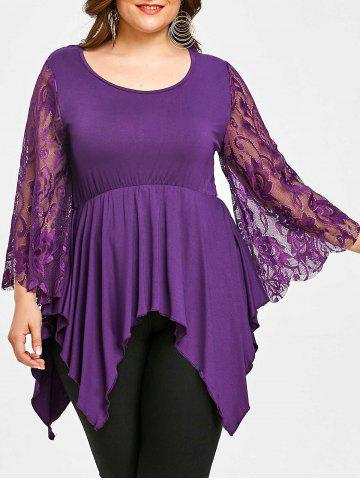 Buy Lace Sleeve Plus Size Handkerchief T-shirt