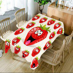 Strawberry Emoji Pattern Table Cloth -