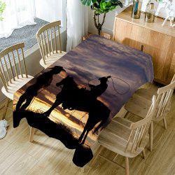 Sunset Scenery and West Cowboys Printed Table Cloth -