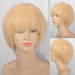 Short Full Bang Straight Indian Remy Huaman Hair Lace Front Wig -