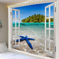 Window Outside Starfish Sea Island Printed Wall Tapestry -