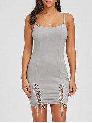Faux Suede Cami Strap Lace Up Dress -