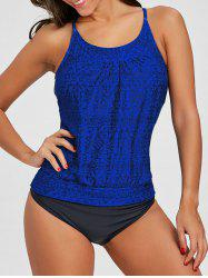 Geometric Print Cross Back Tankini -
