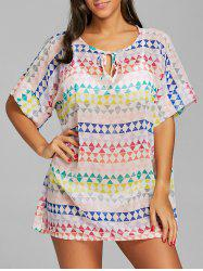 Geometric Print Sheer Chiffon Cover Up Dress -