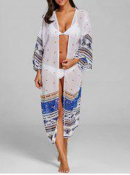 Long See Through Printed Swing Cover Up -