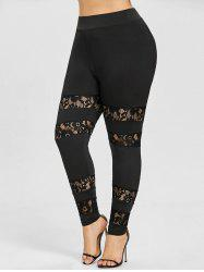 See Through Lace Insert Plus Size Leggings