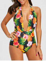 Plunge Pineapple Floral One Piece Swimsuit -