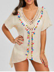 Crochet Front Batwing Sleeve Cover Up -