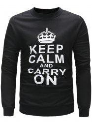 Slogan Print Long Sleeve Pullover Sweatshirt -