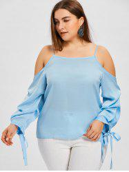 Plus Size Tie Sleeve Slip Blouse -