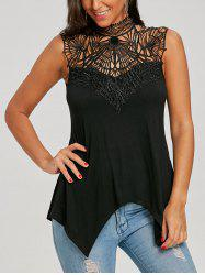 Lace Trim Cutwork High Neck Tank Top -
