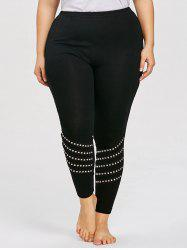 Plus Size Rivet Embellished Leggings -