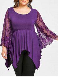 Lace Sleeve Plus Size Handkerchief T-shirt -