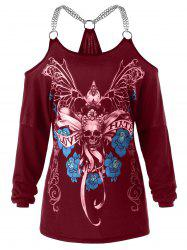 Plus Size Skull Chains Embellished T-shirt -