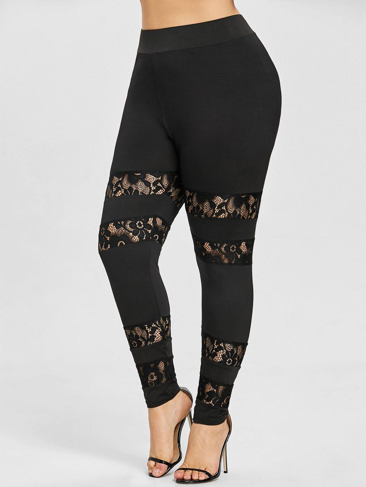 Hot See Through Lace Insert Plus Size Leggings