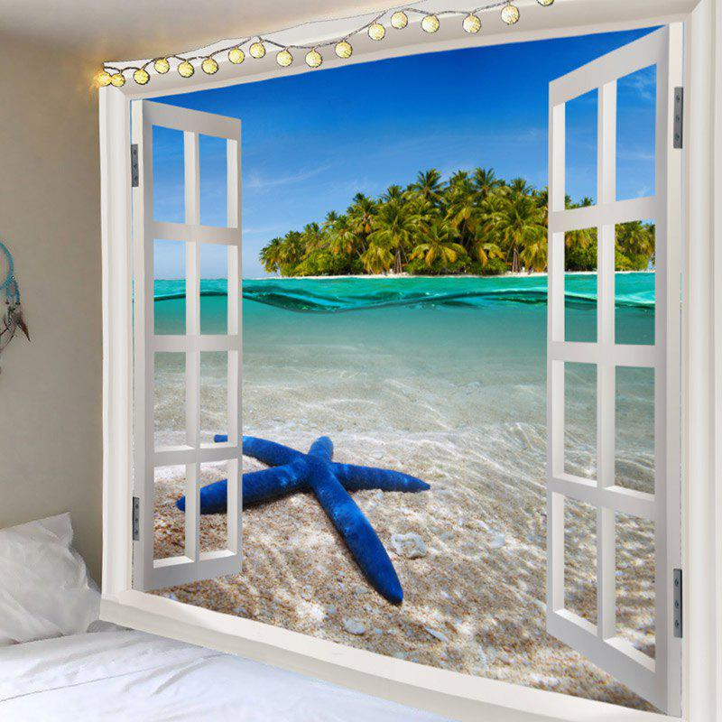 New Window Outside Starfish Sea Island Printed Wall Tapestry