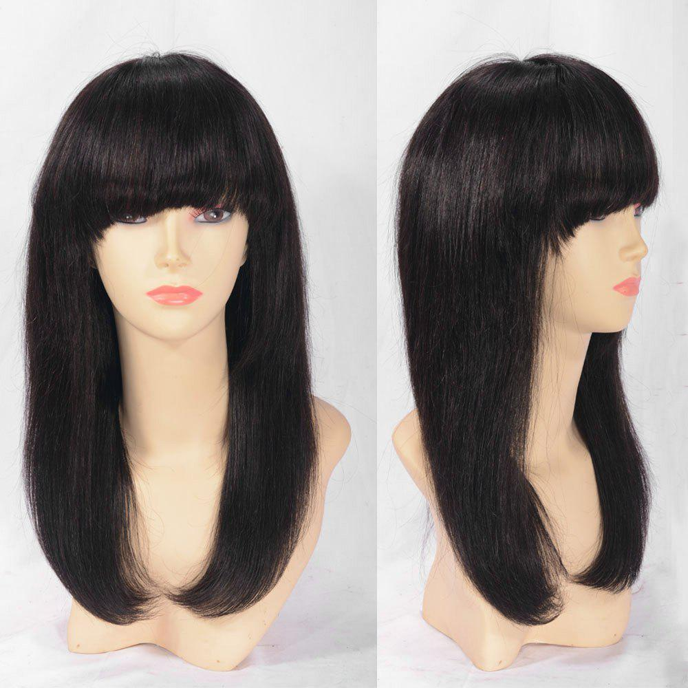 Trendy Lace Front Long Neat Bang Indian Remy Human Hair Wig
