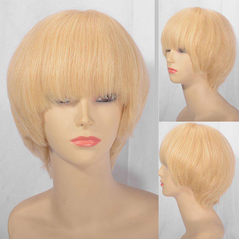 Unique Short Full Bang Straight Indian Remy Huaman Hair Lace Front Wig