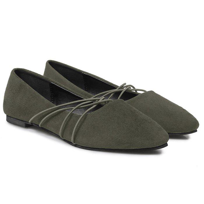 Discount Pointed Toe Faux Suede Flats