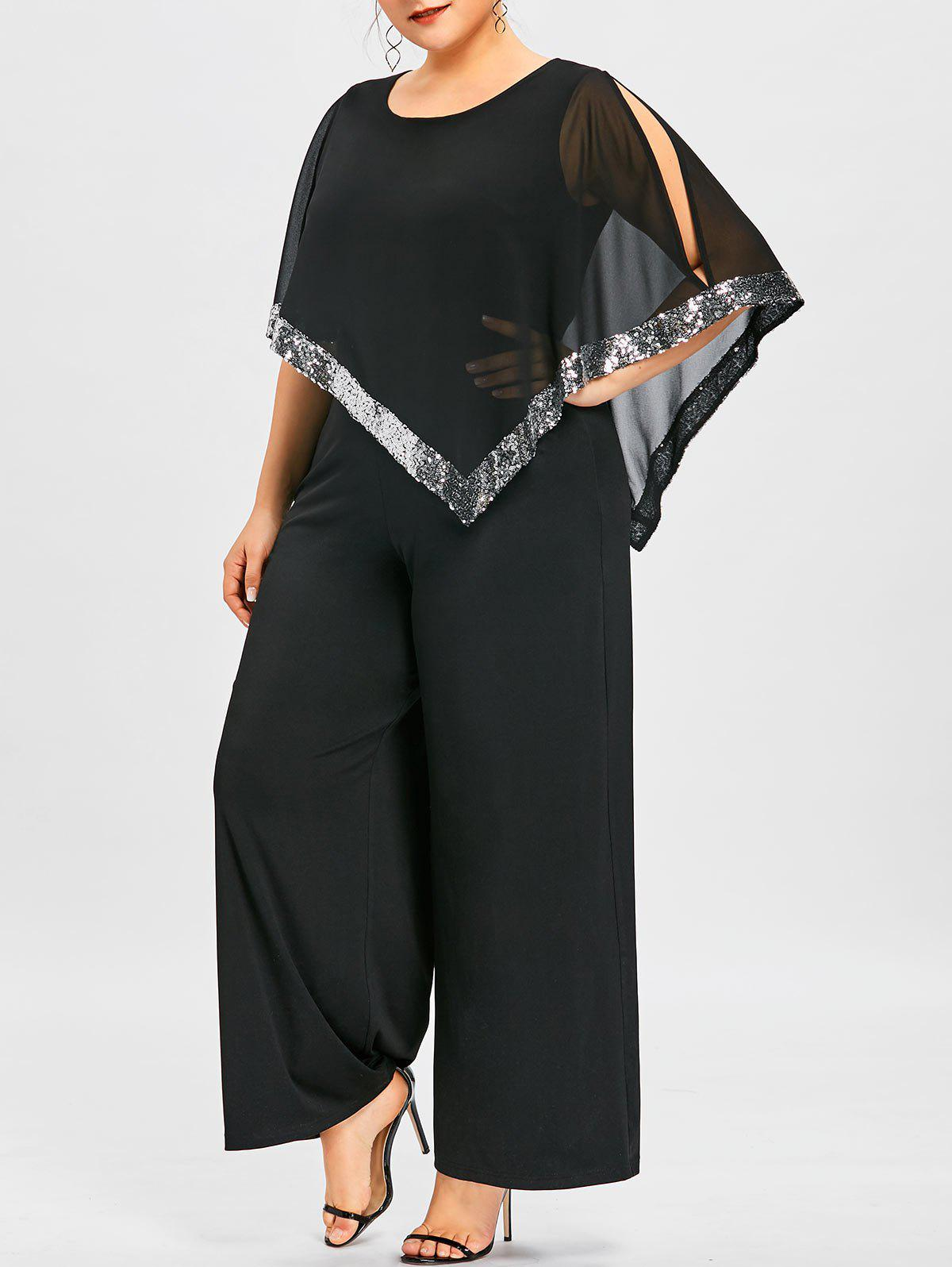 Shop Plus Size Slit Sleeve Wide Leg Jumpsuit