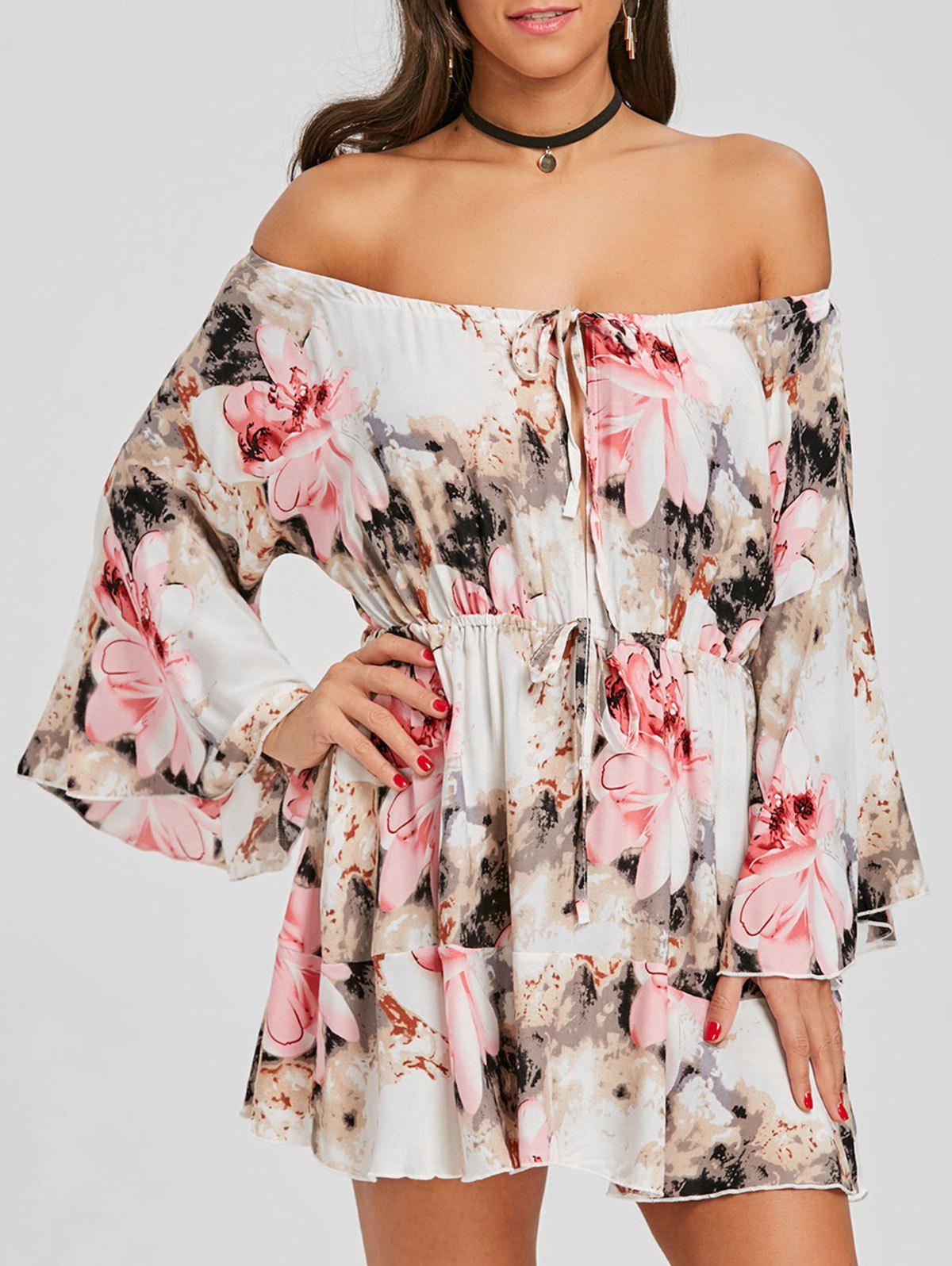 Discount Flare Sleeve Print Off Shoulder Dress