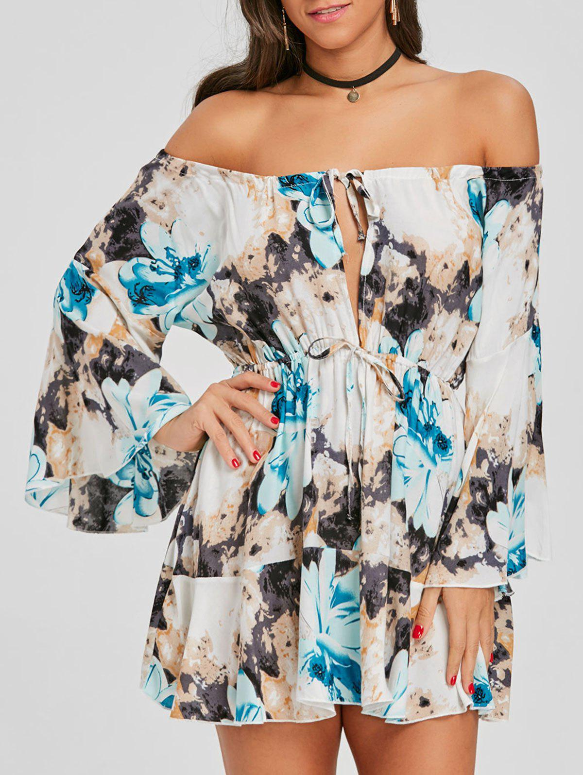 Latest Flare Sleeve Print Off Shoulder Dress
