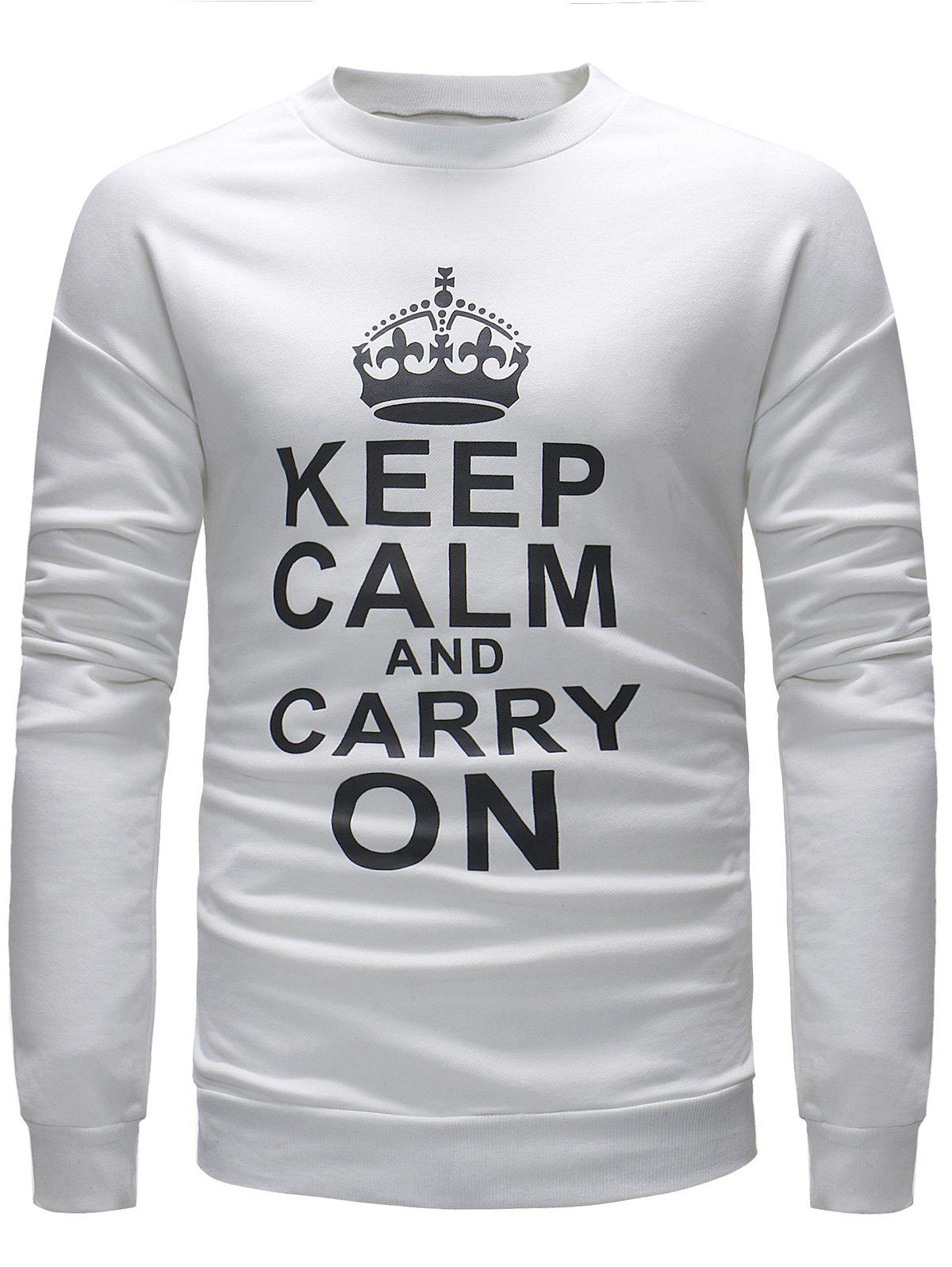 Cheap Slogan Print Long Sleeve Pullover Sweatshirt