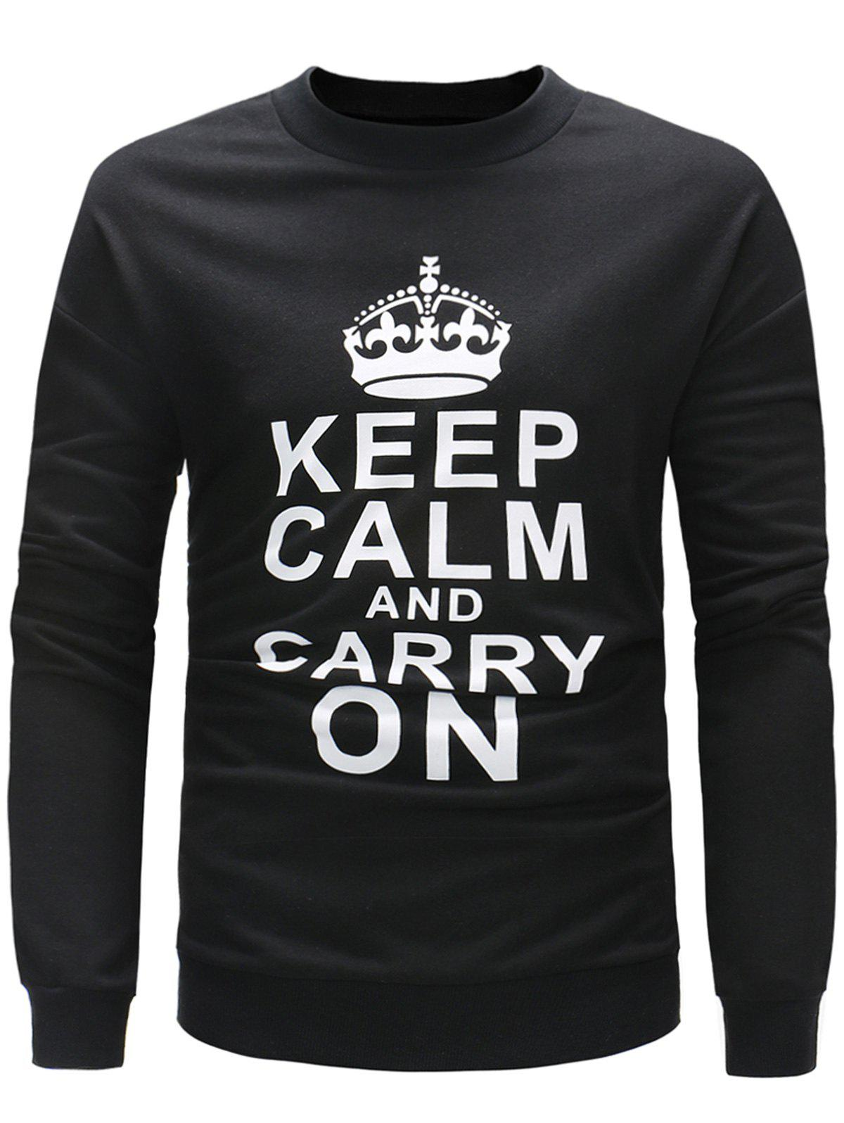 Fashion Slogan Print Long Sleeve Pullover Sweatshirt